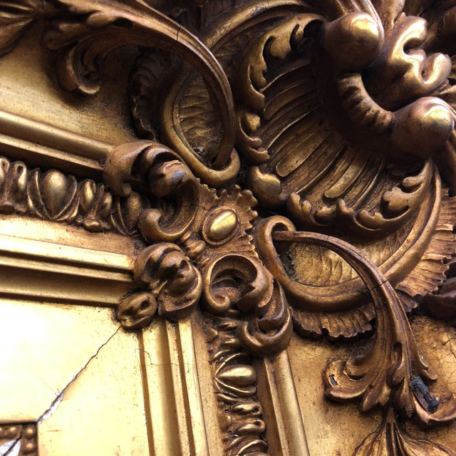 Large Gilded Acanthus Detail Floor Mirror For Sale - Image 4 of 8