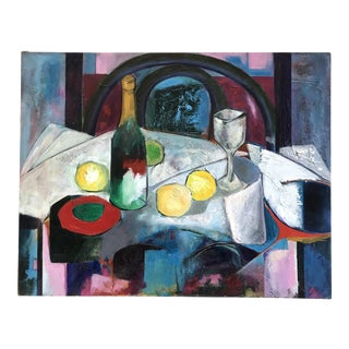 Abstract Oil Still Life Tablescape, 1940s