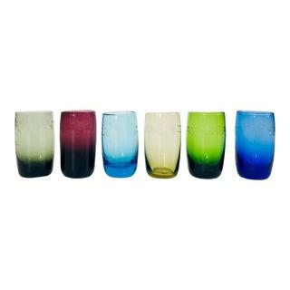 Vintage Etched Rainbow Shot Glasses - Set of 6 For Sale