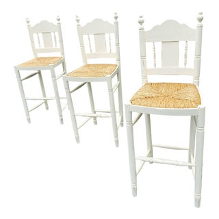 Distressed White Rush Seat Bar Stools - Set of 3 For Sale
