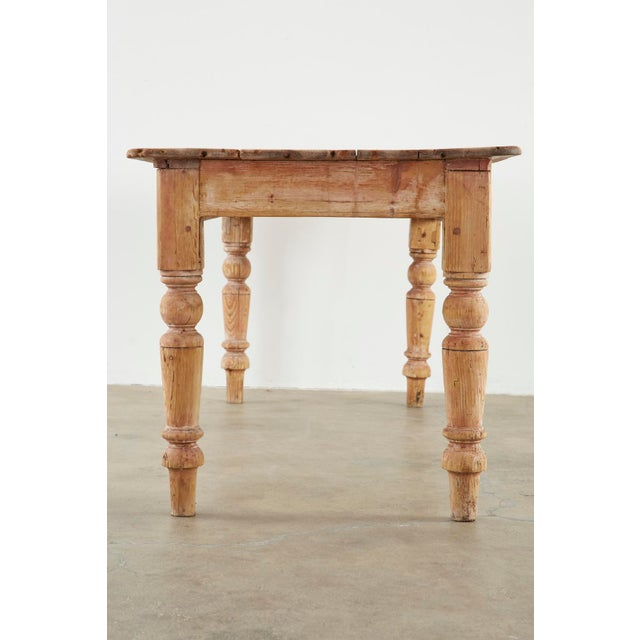 19th Century American Country Pine Farmhouse Dining Table For Sale - Image 10 of 13