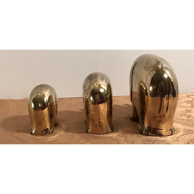Art Deco Style Brass Elephants - Set of 3 For Sale In Dallas - Image 6 of 8