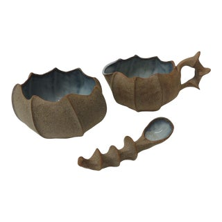 Urchin Shaped Glazed Pottery Sugar and Creamer Set For Sale