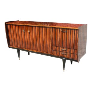 Beautiful French Art Deco Exotic Macassar Bony Sideboard /Buffet Circa 1940s For Sale