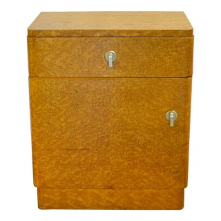 Art Deco Maple Burl Wood Nightstand For Sale