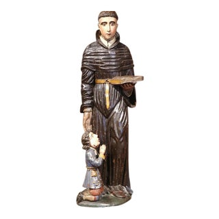 17th Century Italian Polychrome Carved Statue of Saint Nicholas in Cassock For Sale