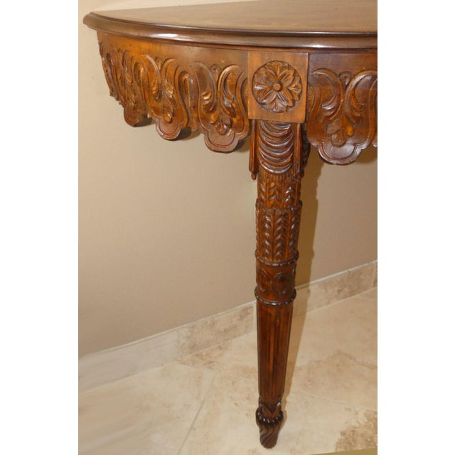 Italian Hand Carved Inlaid Wood Demilune Console Table For Sale In West Palm - Image 6 of 13