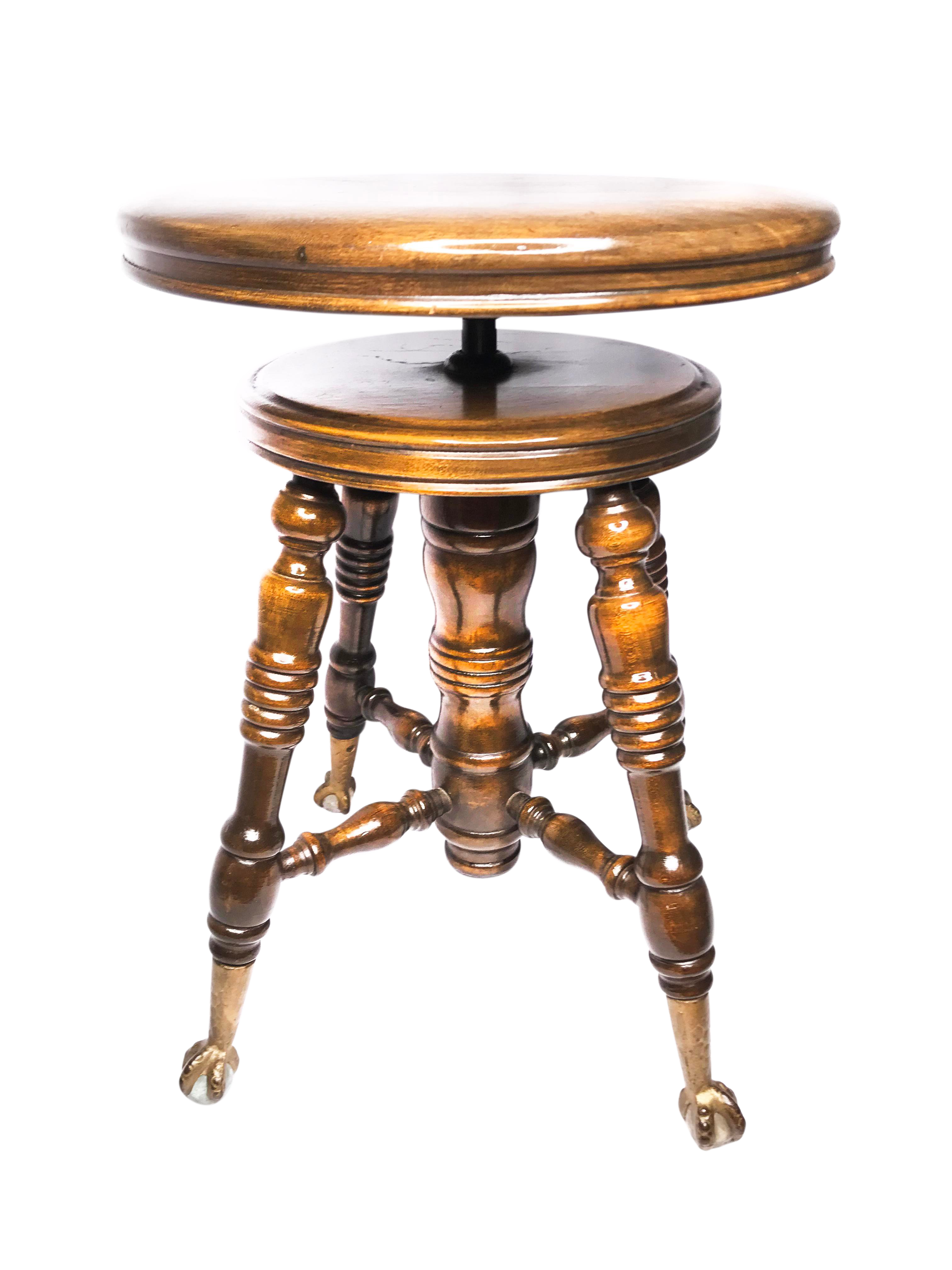 19th Century Art Deco Adjustable Oak Piano Stool With Claw Feet