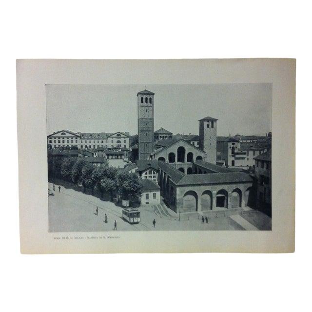 """Circa 1930 """"Basilica Di S. Ambrogio"""" Print of Milano Italy For Sale"""