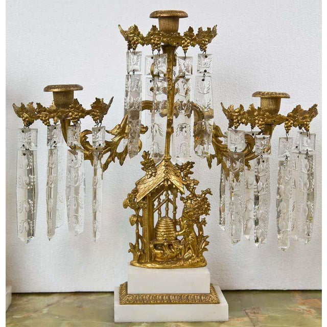 Metal Set of Three French Belle Époque Style Candelabras For Sale - Image 7 of 11