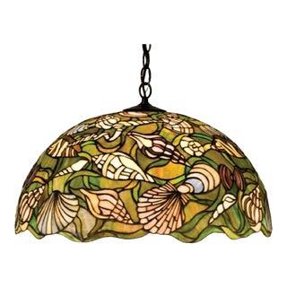 Vintage Meyda Tiffany Seashell 3 Light Pendant For Sale