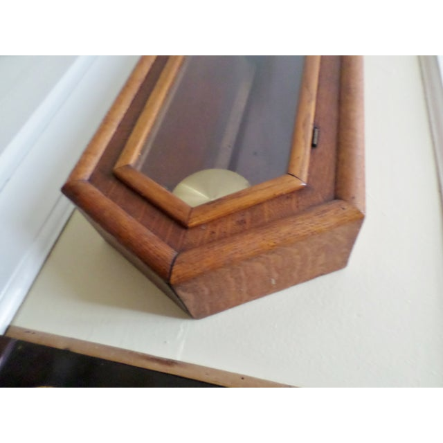 Late 20th Century Antique Seth Thomas Regulator No. 18. Solid Oak Wood Wall Regulator Clock For Sale - Image 5 of 10