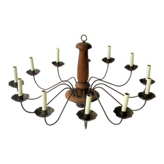 1960s Oversized French Country 12 Candelabra Arms Chandelier For Sale