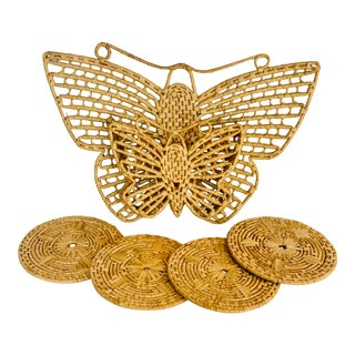 Vintage Hand Woven Rattan Double Butterfly Coaster Set - 5 Piece Set For Sale