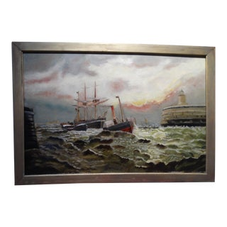 19th Century Marine Harbor Scene Oil on Canvas Painting For Sale