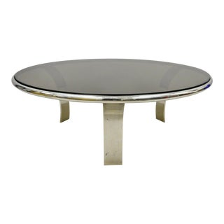 Gardner Leaver for Steelcase Chrome Steel Round Smoked Glass Coffee Table For Sale