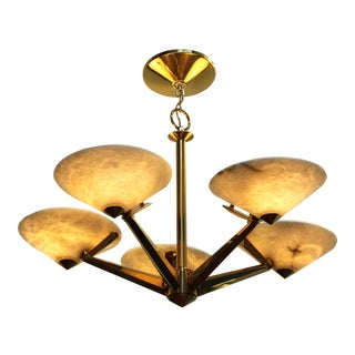 Mid-Century Modern Brass and Alabaster Chandelier by Lightolier For Sale