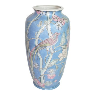 Chinoiserie Blue Hand-Painted Vase With Peacock Motif For Sale