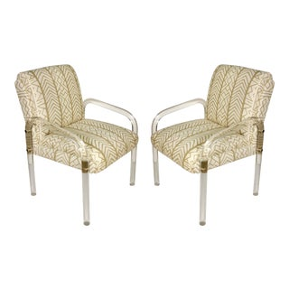 Pair of Vintage Leon Frost Lucite Chairs with China Seas Fabric For Sale