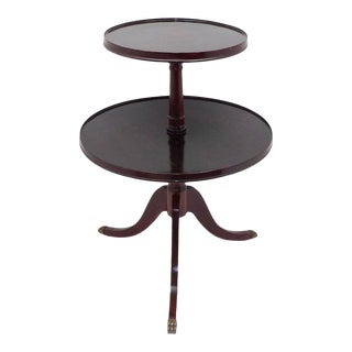 1945 Mid Century Modern Duncan Phyfe 2 Tiered Round Side Table For Sale