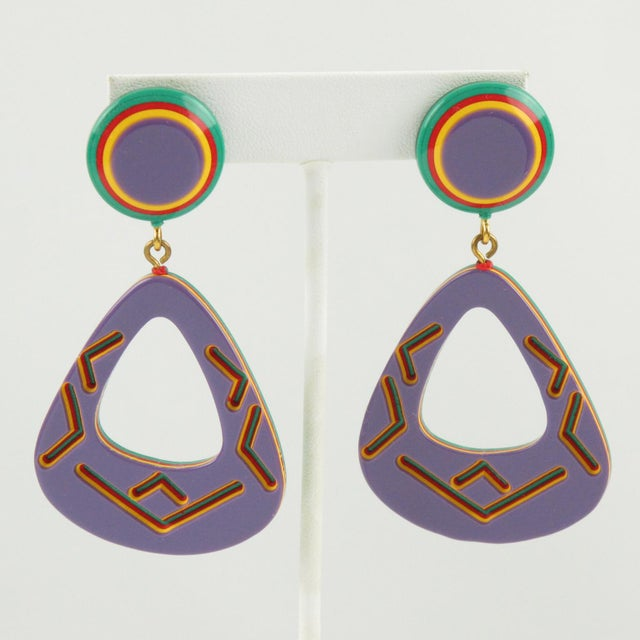 Dangling Pierced Earrings Purple Lucite and Tribal Carving For Sale In Atlanta - Image 6 of 6