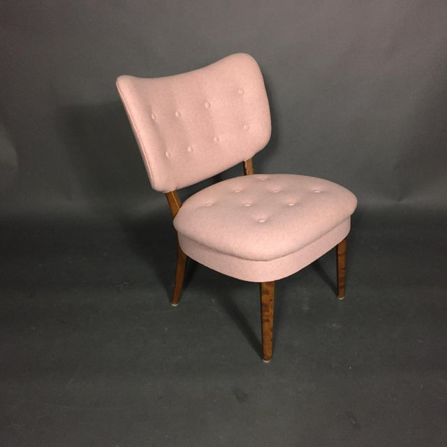 "Felt 1940s Swedish ""Emma"" Chair in Pink Felted Wool For Sale - Image 7 of 9"