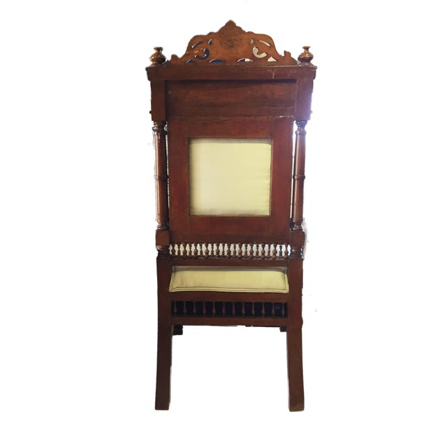 """Boho Chic 19th C Middle Eastern /Moorish Chair W/Mother Pearl 41"""" H For Sale - Image 3 of 12"""