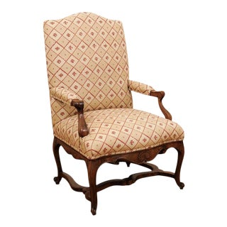 1870s Régence Style French Walnut Armchair with Stretcher and Floral Upholstery For Sale