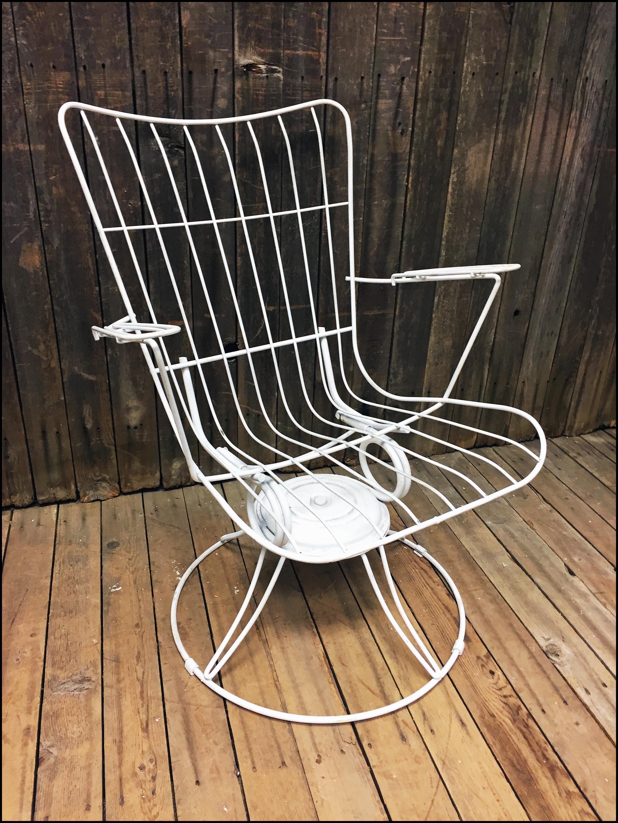 Mid Century Modern White Homecrest Swivel Bounce Chair