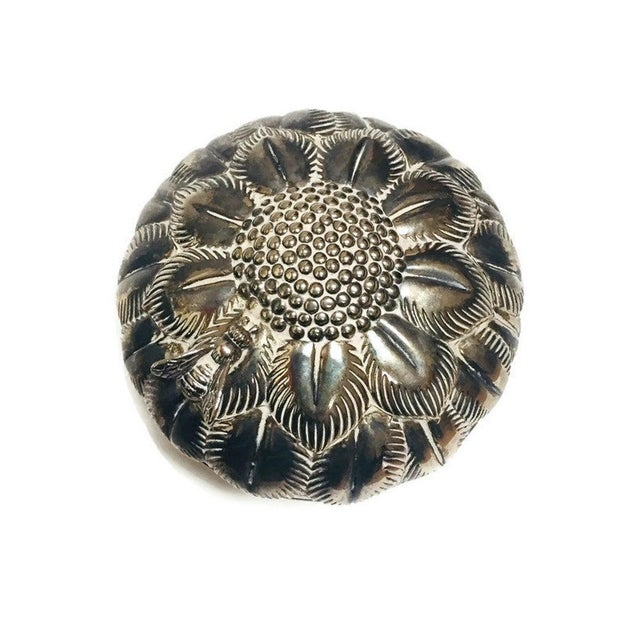 Metal Mid Century Silver Flower Jewelry Box For Sale - Image 7 of 10