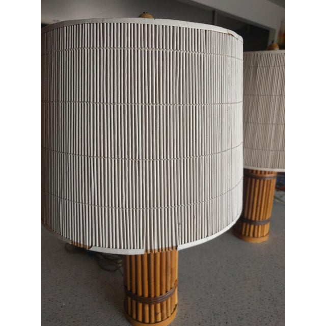 Asian Vintage 1940's Rattan Lamps - A Pair For Sale - Image 3 of 10