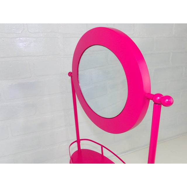 Mid-Century Modern Pink Vanity Mirror & Shelf For Sale - Image 3 of 10