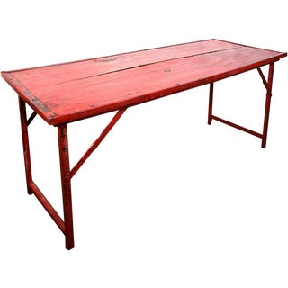 Red Vintage Wood and Steel Frame Folding Table For Sale