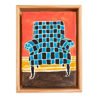 Kate Lewis Checkered Chair Original Painting For Sale