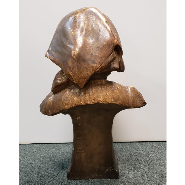 "Ceramic 1898 ""Annita"" Goldscheider Gilded Terracotta Bust Sculpture by Ippazio Antonio Bortone For Sale - Image 7 of 8"