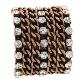 80s Vintage Copper Chain & Rhinestone Statement Cuff Bracelet For Sale