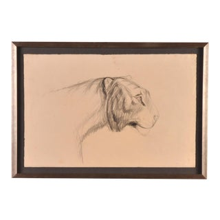 1930s Drawing of Lioness Attributed to Pierre Blanc (1902-86), Switzerland For Sale