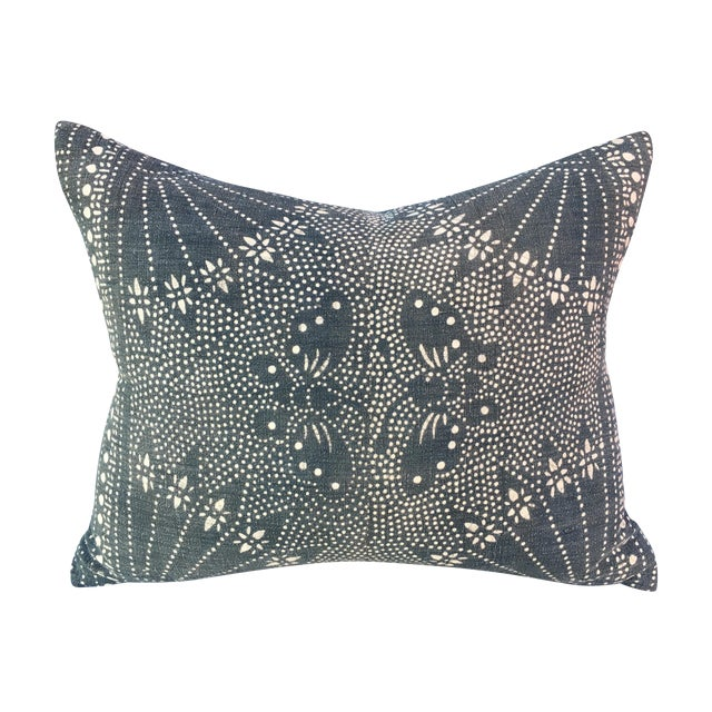 Vintage Gray Batik Pillow with Butterflies - Image 1 of 6