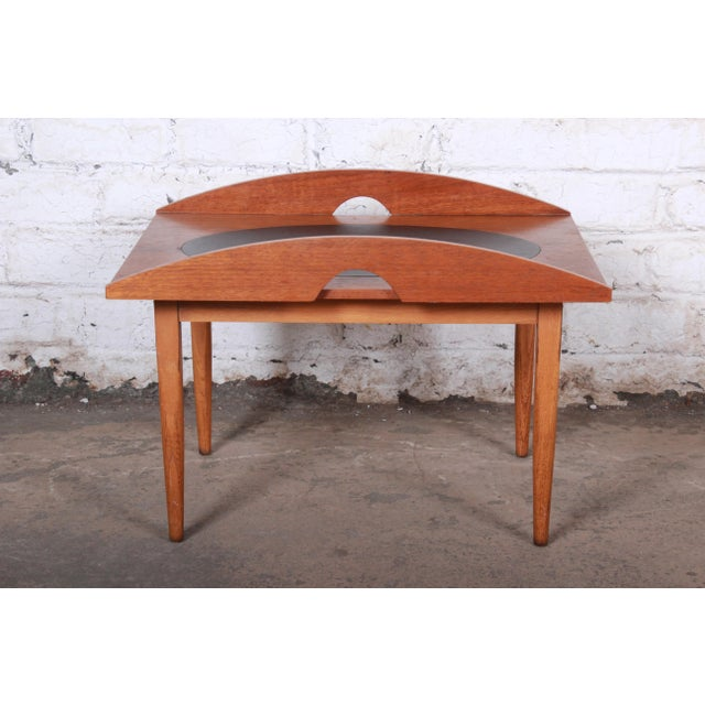 """Mid-century modern walnut and inlaid leather occasional side table Designed by Paul McCobb for Lane Furniture """"Signature""""..."""