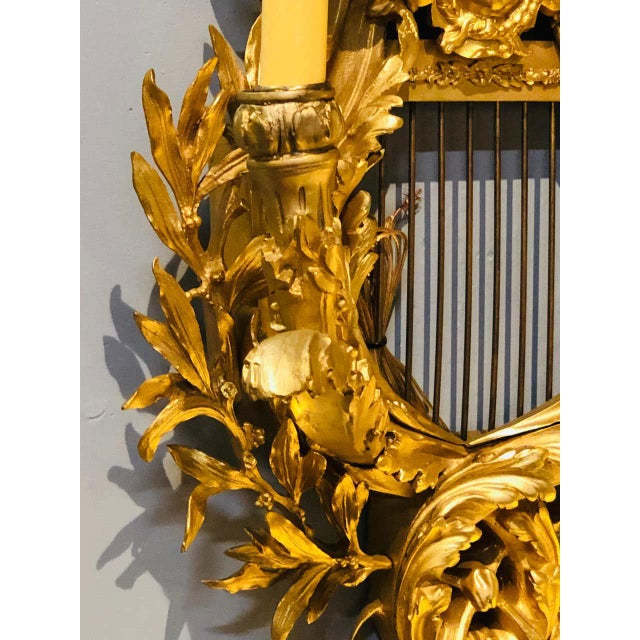 Pair of Four-Light Louis XVI Style Bird & Face Mounted Gilt Bronze Wall Sconces For Sale In New York - Image 6 of 13