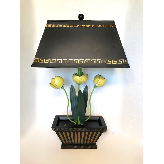 Vintage Painted Tole Italian Floral Lamp For Sale - Image 9 of 9