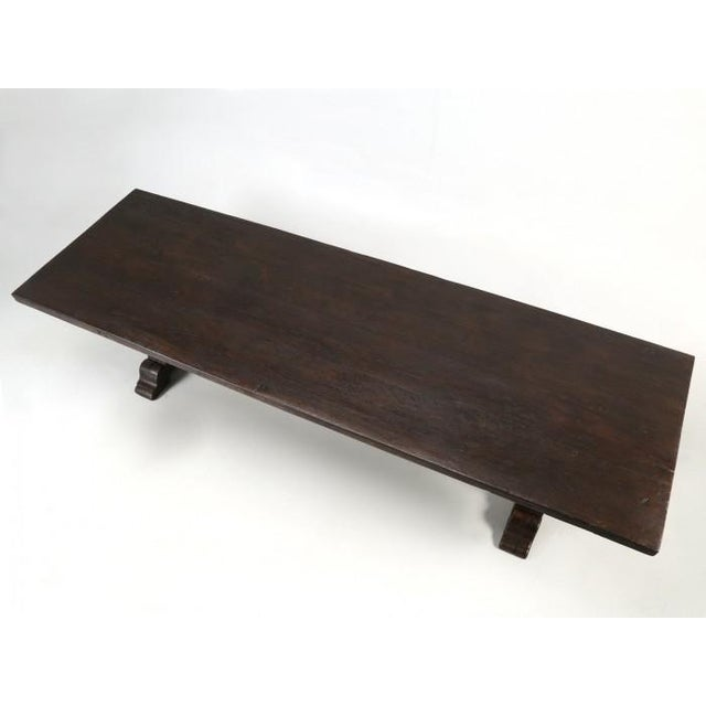 Late 19th Century Antique French Oak Trestle Dining Table For Sale - Image 5 of 13