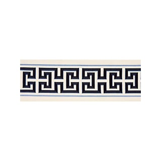 Scalamandre Imperial Embroidered Tape, Navy Fabric For Sale