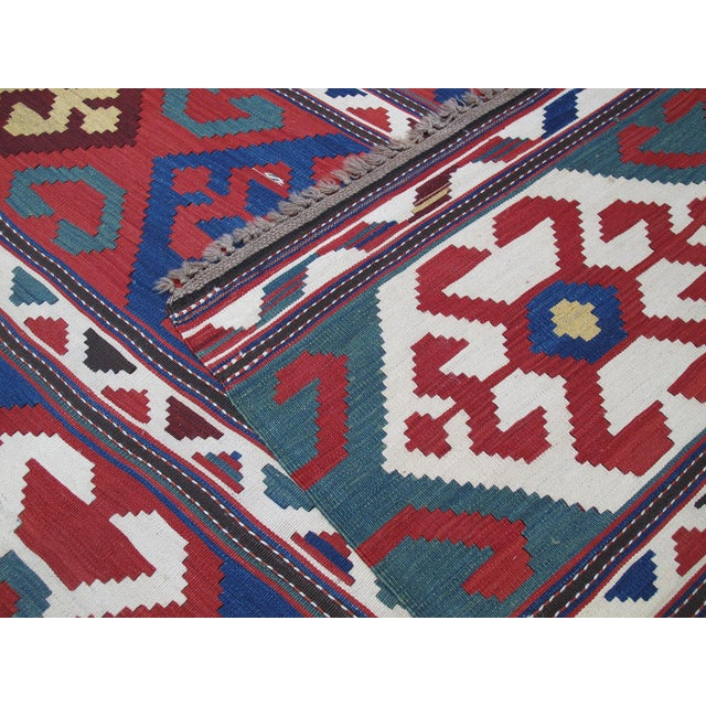 """Primary Colors,"" Antique Kazak Kilim For Sale - Image 9 of 10"
