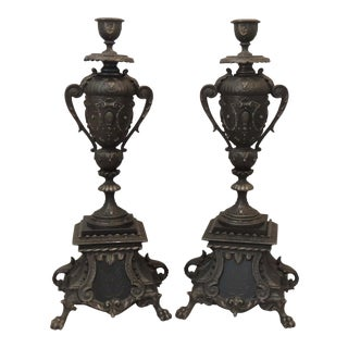 Antique French Neoclassical Style Candlesticks ~ a Pair For Sale