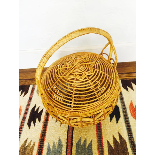 Vintage Large Rattan Basket - Image 4 of 7
