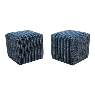 Striped Upholstered Cube Benches - a Pair For Sale