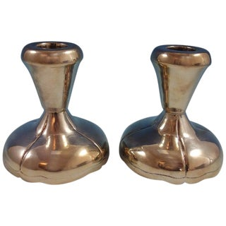 Maciel Mexican Sterling Silver Candlestick Pair #14 Modernistic For Sale