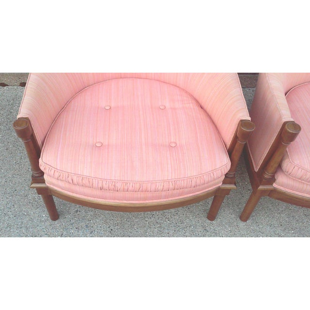 1970s Salmon Dupioni Silk Tub Chairs-A Pair For Sale - Image 5 of 7