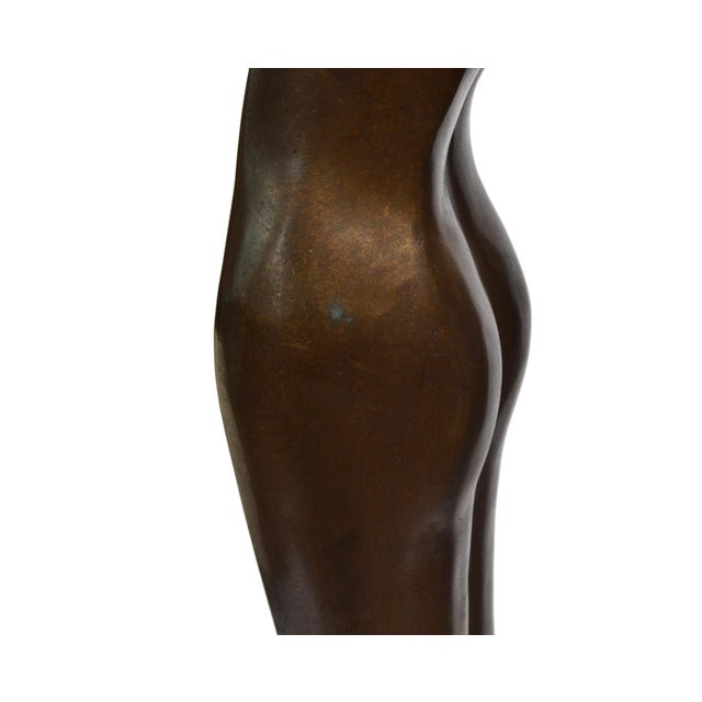 Gold Solid Bronze Nude Ballerina Dancer Sculpture For Sale - Image 8 of 13
